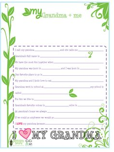 Activity to do with Grandma! I Cici Bean I http://letyourheartbeyourguide.blogspot.ca/2012/09/grandparents-day.html