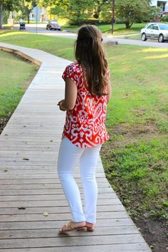 last chance at summer whites with #madeinUSA top and jeans on www.handmedownstyle.com