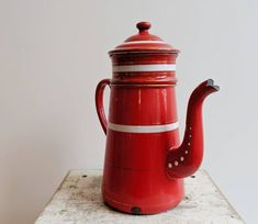 Red Vintage Enamel Coffee Pot - Byske Vintage Home Goods French Industrial Decor, Antique Clocks, Watering Can, Tea Pots, Home Goods, Enamel, Coffee, Antiques, Tableware