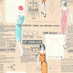 """Make It Work in Tan [PC6028-TANX-D] - $18.00 : Clair's Fabrics, Patchwork Fabric for Quilts and Quilters. """"Won't it be thrilling when you make a dress all by yourself. You'll fairly burst your seams with pride!"""" Hahaha....I love those old dressmaking ads.....I also love this dressmaking print, it's fun and stylish and...well, I've just got to have some before I burst my seams!"""