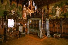 Neuschwanstein Castle, Bavaria.c.1892. Bedroom of Ludwig II featuring Tristan and Isolde-themed wallpaper