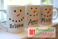 DIY Gift Mugs DIY Personalized Gift Mugs. Diy Christmas Mugs, Homemade Christmas Gifts, Homemade Gifts, Holiday Fun, Diy Gifts, Christmas Crafts, Cheap Christmas, Personalised Gifts Diy, Personalized Christmas Mugs