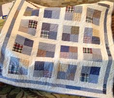 These quilts are made from your loved ones clothing. We have even used parts of bedspreads, blankets, bathrobes, dresses, ect... Anything that represents your loved one and brings back good memories. We will work with you on exactly what you need and represents them best. We do not use a specific pattern but create each one to best use what you have. Each quilt comes with a embroidered label on the back that can say anything you would like. These are custom made just for you and the backing…