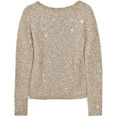 Oscar de la Renta Sequined silk and cotton-blend sweater ($2,290) ❤ liked on Polyvore