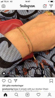 Anchor Chain, Delicate, Bracelets, Gold, Jewelry, Fashion, Moda, Jewlery, Jewerly