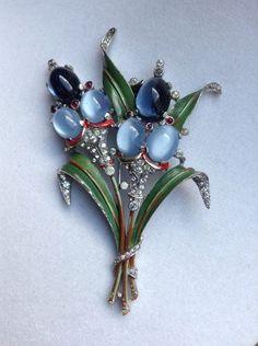Vintage Crown Trifari Flower Bouquet Rhinestone Jelly Enamel Brooch Pin Huge   eBay