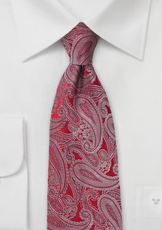 Designer Silk Tie in Red with Silver Paisleys - Give your wardrobe a face lift with the addition of this designer silk tie in red with silver paisley print. Valentines Gifts For Him, Wedding Ties, Silk Ties, Paisley Print, Silver, Accessories, Gentleman, Suits, Design