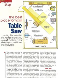 #1541 Best Place for Your Table Saw - Table Saw Tips, Jigs and Fixtures Workshop Solutions Plans, Tips and Tricks