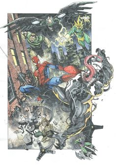 Dike Ruan Commission - Spider-man and Sinister in d raj's Dike Ruan Comic Art Gallery Room Venom Spiderman, Spiderman Art, Amazing Spiderman, Comic Book Artists, Comic Books Art, Comic Art, Marvel Art, Marvel Heroes, Sinister 6