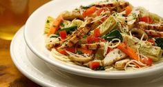 Carino's Chicken Primavera  Copycat Recipe   Serves 4   3 carrots, peeled and cut into thin strips 2 medium zucchini or 1 large zucchini,...