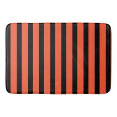 #stripes - #Black And Orange Stripes Retro Pattern Bathroom Mat