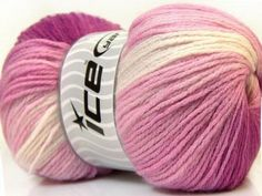 Ice Magic Light Yarn 22022 Fuschia Pink White by GoodFiberYarns Ice Magic, Magic Light, Baby Print, Ice Yarns, Ombre Yarn, Mint, Dk Weight Yarn, Yarn Brands, Double Knitting