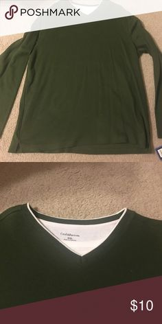 Green sweater Green  v neck sweater with mock white tee. croft & barrow Sweaters V-Neck