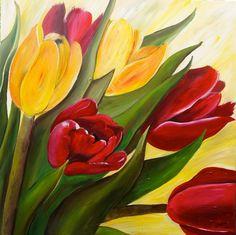 """Saatchi Art Artist Ilona van Burgel; Painting, """"Tulips in red and yellow"""" #art"""