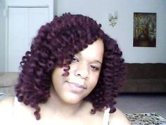 """Freetress Equal Cuban Twist for Double Strand 12"""" Latch Hook / Crochet Braid color 99J. Hair was braided in 12 braids, going straight back."""