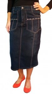 Topstitch Denim Skirt - modest mid-calf length with sizes up to 20