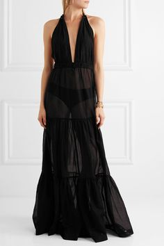 On The Island By Marios Schwab - Eyelet-embellished Cotton-voile Maxi Dress - Black - IT42