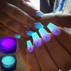 1 Box Neon Phosphor Powder Nail Glitter Powder 10 Colors Dust Luminous Pigment Fluorescent Powder Nail Glitters Glow in the Dark - nails - Nail Dark Nail Polish, Metallic Nail Polish, Dark Nails, Polish Nails, Glow Nails, Glitter Nails, Glitter Pigment, Glitter Eyeshadow, Glitter Boots