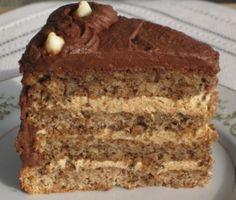 Ukrainian Walnut Torte - Components:  Walnut sponge, Coffee Cream Filling with a Mocha frosting Flavors:  Walnut and Mocha Texture:  spongy soft and creamy