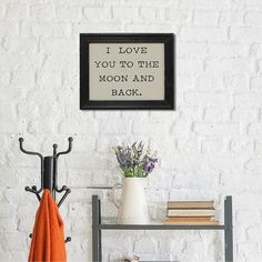 "Stratton Home Decor ""Love You Moon"" Linen Framed Wall Decor, Multicolor"