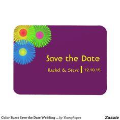 Color Burst Save the Date Wedding Magnet