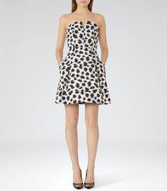 Womens Black/white Structured Strapless Dress - Reiss Telsa $370