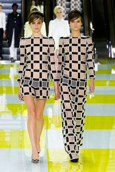 Louis Vuitton Spring 2013 His sheer checkerboard looks were an homage to Buren, almost like aerial shots of what his columns look like in the Grand Palais.