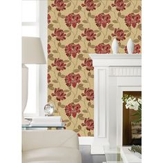 Charming Wallpaper in Gold and Red design by York Wallcoverings ($45) ❤ liked on Polyvore featuring home, home decor, wallpaper, red flower wallpaper, red textured wallpaper, metallic wallpaper, metallic textured wallpaper and gold metallic wallpaper
