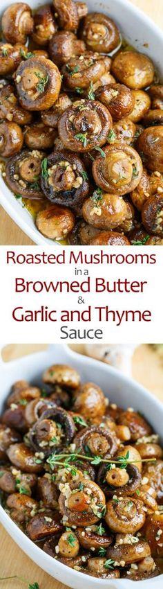Mushrooms in a Browned Butter, Garlic and Thyme Sauce Sommer Rezept Vegetarisch. Geröstete Pilze in Butter, Knoblauch und Thymian…Sommer Rezept Vegetarisch. Geröstete Pilze in Butter, Knoblauch und Thymian… Side Dish Recipes, Vegetable Recipes, Vegetarian Recipes, Cooking Recipes, Healthy Recipes, Potato Recipes, Pasta Recipes, Crockpot Recipes, Chicken Recipes