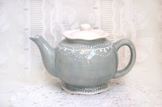 Sweet grey teapot detailed with white accent by Dprintsclayful