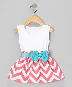 Look what I found on #zulily! Pink Chevron Bow Dress - Infant & Toddler #zulilyfinds