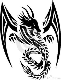 Vector Tribal Tattoo Illustration of a Winged Dragon