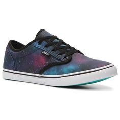 Vans Atwood Low Galaxy Sneaker - Womens ($50) ❤ liked on Polyvore featuring shoes, sneakers, vans, low-top, low sneakers, vans shoes, low profile sneakers, nebula shoes and low profile shoes