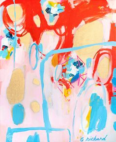 Summer at Versailles, Original Abstract Acrylic Painting on Stretched Canvas.