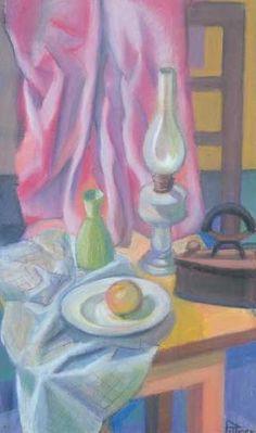 Asztali csendélet petróleumlámpával: 17. aukció (2004. ősz) 140.tétel Painting, Painting Art, Paintings, Painted Canvas, Drawings