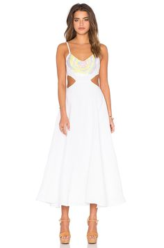 Mara Hoffman Embroidered Cut Out Dress in Flower Embroidery White