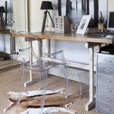 Rustic Home Offices, Small Home Offices, Home Office Space, Home Office Design, Home Office Furniture, Furniture Design, Design Desk, Desk Space, Library Design