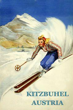 Ski Austria Blond Lady Skiing in Kitzbuhel Austria Land of Ski Winter Sport Vintage Poster Repro FREE SHIPPING