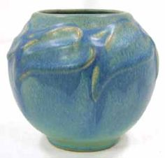 Very lovely Van Briggle art pottery vase in lovely colors, dated 1918.