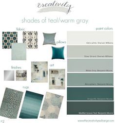 Shades of teal paint colors layered with warm gray. Great paint colors to use f. Shades of teal paint colors layered with warm gray. Great paint colors to use for this color schem Teal Living Rooms, Paint Colors For Living Room, Bedroom Colors, Bedroom Ideas, Teal Dining Room Paint, Teal Living Room Color Scheme, Grey Living Room With Color, Grey Living Room Ideas Colour Palettes, Dining Rooms