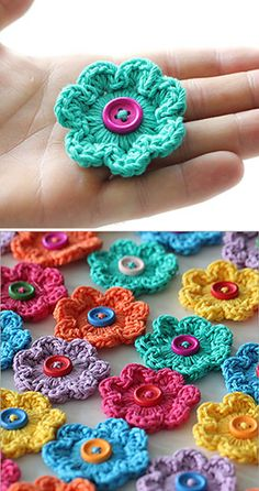 Mini Hoop Flowers – Free Pattern (Beautiful Skills – Crochet Knitting Quilting) – My CMS Crochet Flower Tutorial, Crochet Flower Patterns, Knitting Patterns, Love Crochet, Crochet Motif, Crochet Stitches, Beautiful Crochet, Crochet Embellishments, Crochet Buttons
