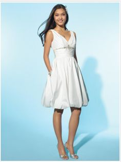Fabric: Taffeta Embellishment: Crystals Silhouette:A-line Straps:Straps  Sleeves: Sleeveless Neckline:V-neck Back: Zipper up Hemline: knee length PHOTOGRAPHED IN:White/Silver $86.99