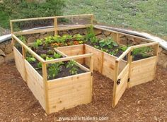 U-Shaped Raised Bed Garden, DIY, Pallets, Pallet Projects, Pallet Planters, Raised Garden, Garden Projects, Outdoor Projects, Upcycled