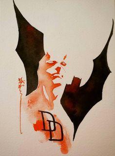 Daredevil / Batman by Dustin Nguyen Comic Book Artists, Comic Artist, Comic Books Art, Marvel Vs, Marvel Heroes, Marvel Comics, Dustin Nguyen, Daredevil Elektra, Marvel Tattoos