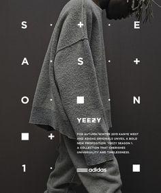 Adidas Originals x Kanye West YEEZY SEASON 1 on Behance / print design + typography + black + white Poster Design, Graphic Design Posters, Graphic Design Typography, Japanese Typography, Typography Layout, Typography Poster, Typography Images, Best Website Design, Website Designs