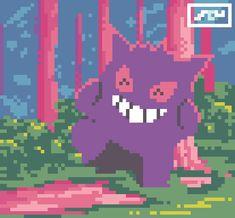 Pokemon Gif, Pokemon Fusion, Ghost Type, Pixel Drawing, Pixel Art, Iphone Wallpaper, Cool Art, Geek Stuff, Animation