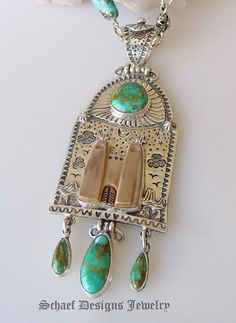 David Troutman Turquoise & Sterling Silver Old Mission Pendant for Schaef Designs Jewelry