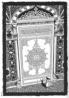 From the graphic novel Habibi by Craig Thompson  I love the detail and expression that he puts into his art. And the research to get language characters, designs, names, etc correct must be phenomenal!