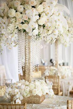 total white floral arrangement, golden glitter and crystals by Karen Tran