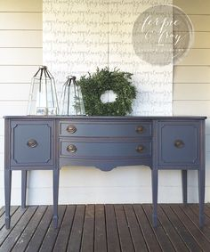 Vintage French Soul ~ Buffet painted by Amanda of Ferpie and Fray in Queenstown Grey by General Finishes. Refinished Buffet, Painted Sideboard, Painted Buffet, Paint Furniture, Furniture Projects, Furniture Makeover, Furniture Decor, Outdoor Furniture, Vintage Buffet